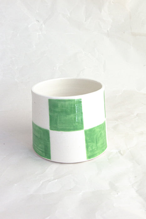 Checkered Handmade Ceramic Tumbler - Light Green
