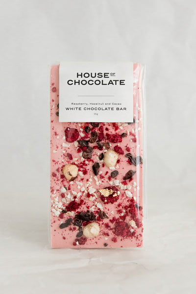 Freeze Dried Raspberry, Hazelnut and Cacao Chocolate Bar