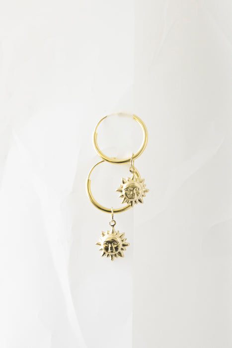 Sun Gold Charm Hoop Earrings