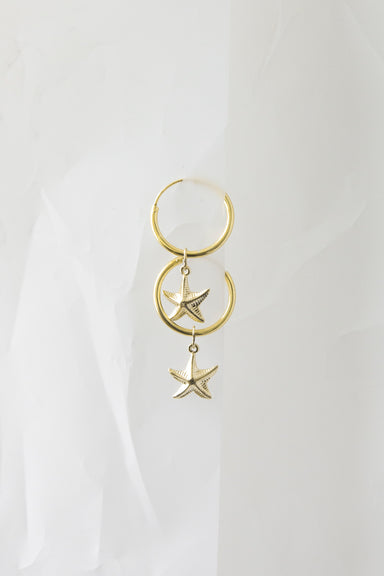 Starfish Gold Charm Hoop Earrings
