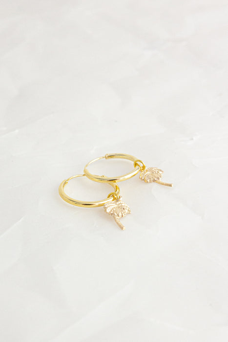 Palm Tree Gold Charm Hoop Earrings
