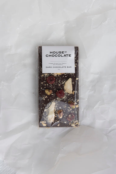 Freeze Dried Fig, Cherry and Pistachio Chocolate Bar