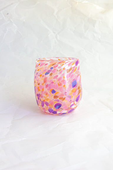 Pastel Splashed Mouth Blown Glass Tumbler
