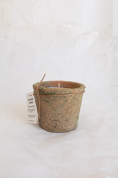 Outdoor Citronella Candle in A Terracotta Pot