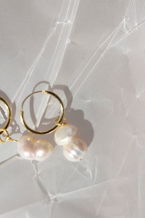 Nugget Pearl 18Kt Gold Hoops