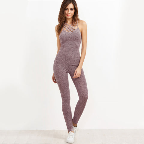 Grey Marled Ribbed Jumpsuit Cage Neck Sexy Skinny Women Casual Knit Jumpsuits