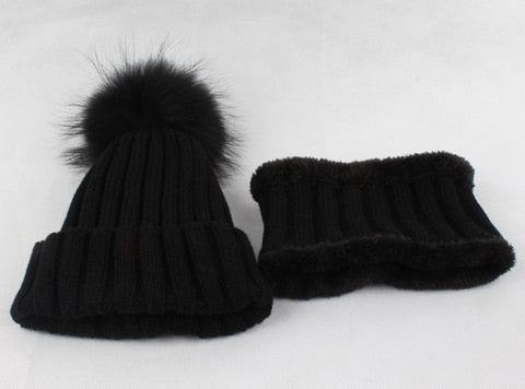 KIDS Warm Fleece Liner Beanie Hat With Scarf