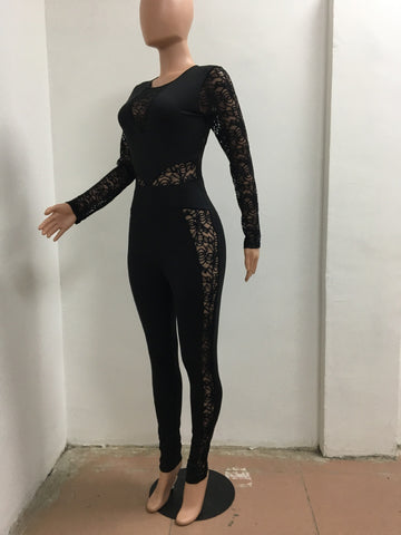 Long Sleeve Black Lace Jumpsuit