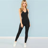 Image of Black Casual Cool Sexy Backless Solid Skinny Shell O-Neck Sleeveless