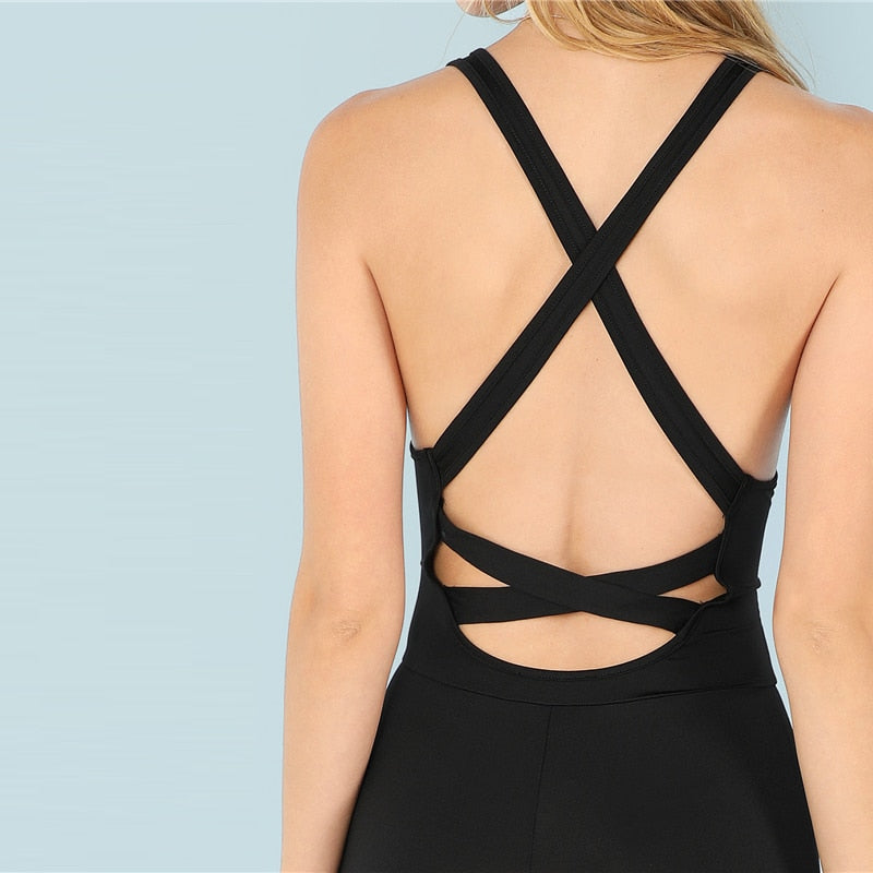 Black Casual Cool Sexy Backless Solid Skinny Shell O-Neck Sleeveless
