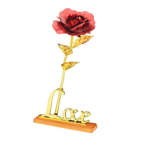 24K Foil Plated Rose Gold Rose Wedding Decoration Flower Valentine's Day Gift Lover Rose Artificial for Drop shipping with card