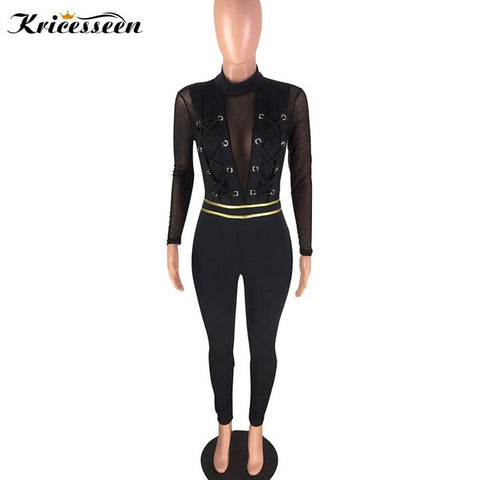 High Waist Body con Jumpsuit Women Patchwork Long Sleeve Skinny Jumpsuit Rompers