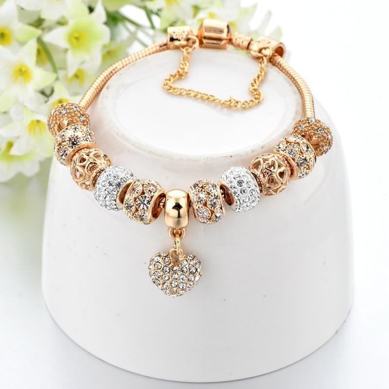 ( BUY 1 GET 2) Plus Size Gold Heart Crystal Charm Bracelet