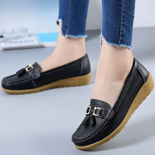 Women Genuine Leather Casual Slip-on Peas Massage Flat Shoes