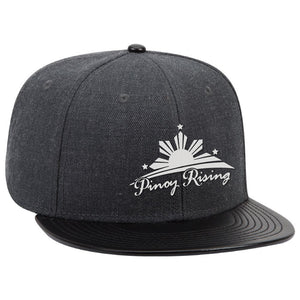 WOOL BLEND TWILL W/ FAUX LEATHER FLAT VISOR SNAPBACK HAT by Pinoy Rising