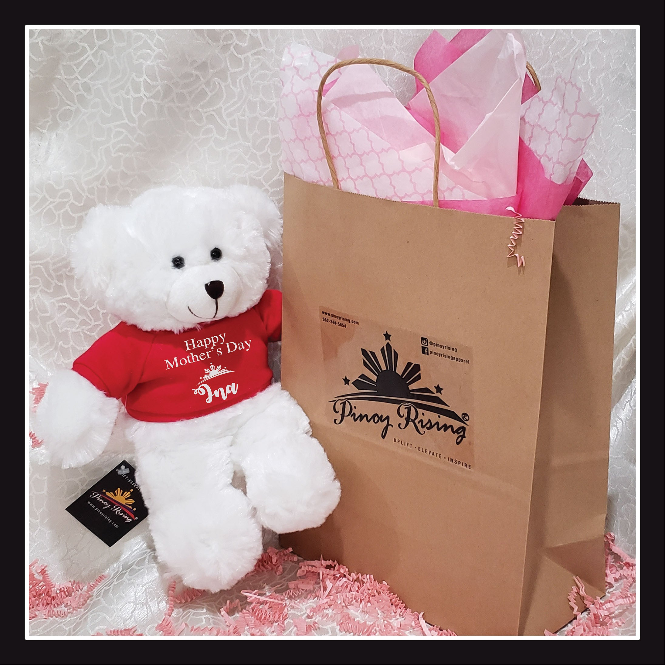 Mother's Day White Plush Teddy Bear Toy - Pinoy Rising - Special Edition Gift Package