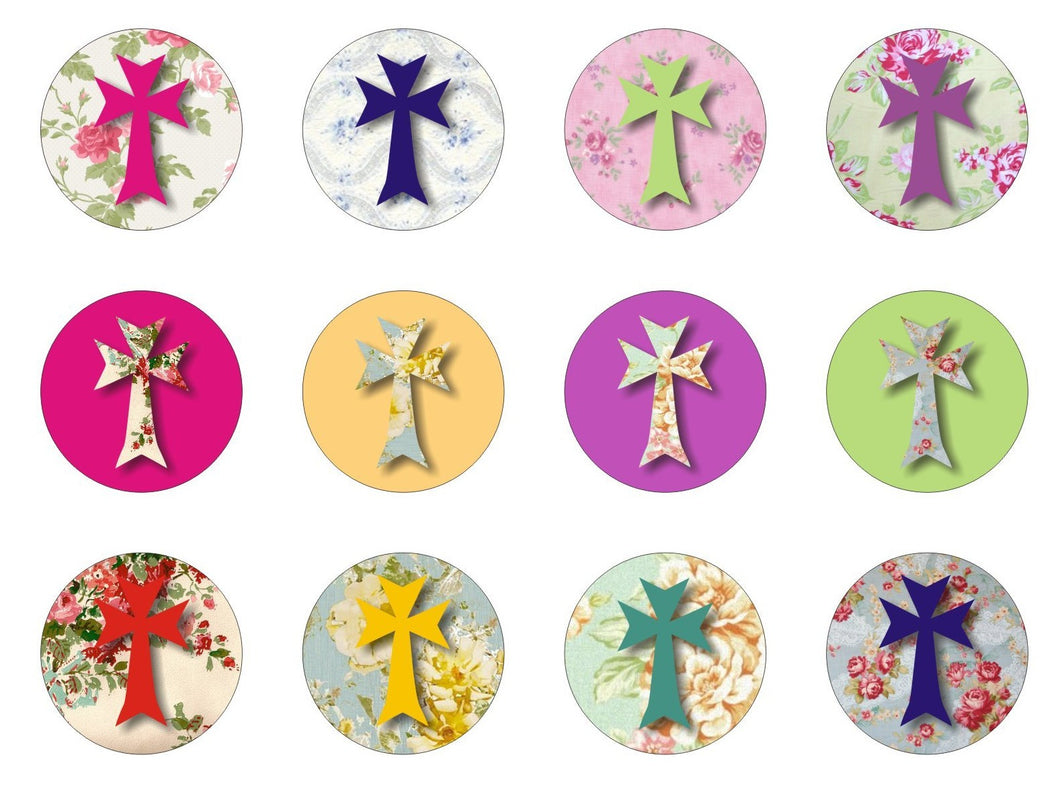 Shabby Chic Cross snaps 20mm