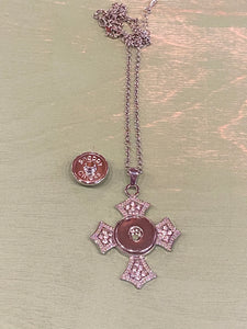 Sparkly Cross Pendant Snap Necklace.  Holds 18 or 20mm Snaps