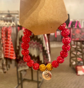 Red and Gold Sparkly Beaded Bracelet