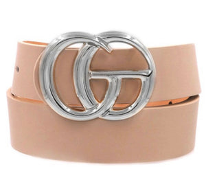 Double Metal Silver Ring Tan Belt