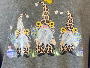 Spring Gnome Tee with Cheetah, Sunflowers & Bees