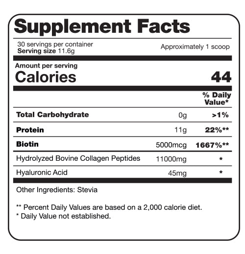 supplement facts collagen