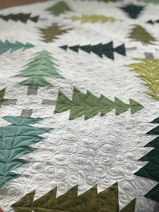 Evergreen quilt pattern for Christmas quilting.