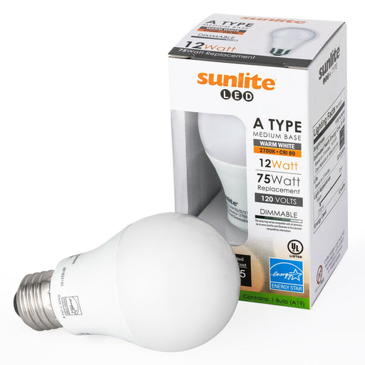 Sunlite A19/LED/12W/ES/D/50K LED A Type Household 12W (75W Equivalent) Light Bulbs Medium (E26) Base, Clear White