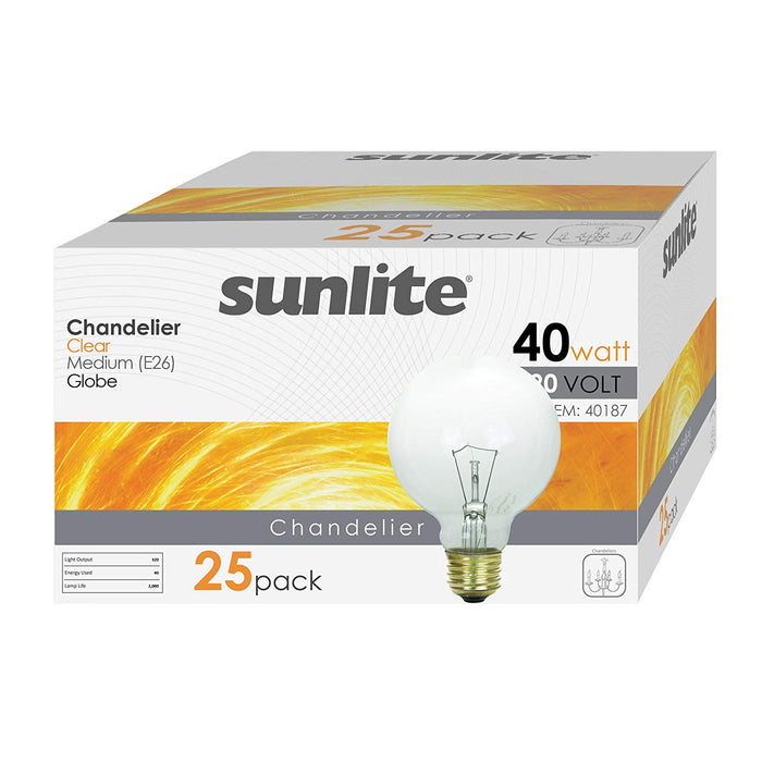 Sunlite 40 Watt G25 Globe, Medium Base, Clear