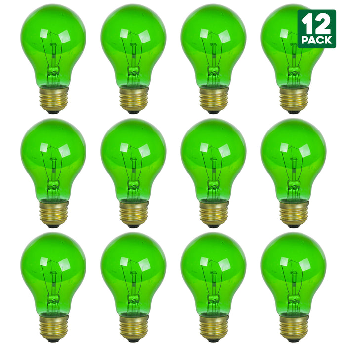2 Pack of Sunlite 25 Watt A19 Colored, Medium Base, Transparent Green