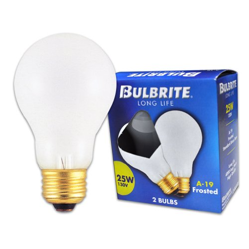 Bulbrite 25A 25 Watt Incandescent  A19, Medium Base, Frost, 2-Pack