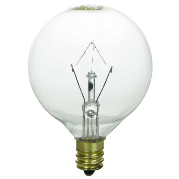 15 Watt G16.5 Globe, Candelabra Base, Clear