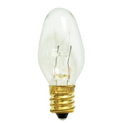 Bulbrite 10C7C-25PK 10 Watt Incandescent Night Light C7 Replacement Bulb, Clear, 25-Pack