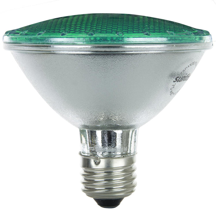 Sunlite 75 Watt, 30° Narrow Flood, Colored PAR30 Reflector, Medium Base, Green, Halogen