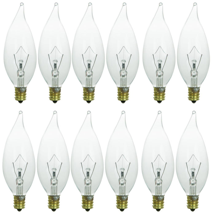 Sunlite 60 Watt Krypton Flame Tip Chandelier, Candelabra Base, Clear