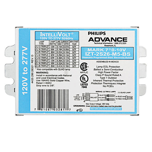 Advance Mark 7 0-10V IZT-2S26-M5-BS (1-2) Lamp - 26 Watt CFL - 120/277 Volt - Programmed Start - 1.0 Ballast Factor - Dimming