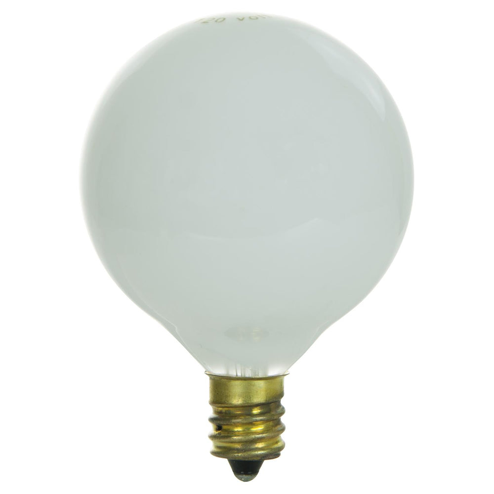 25 Watt G16.5 Globe, Candelabra Base, White