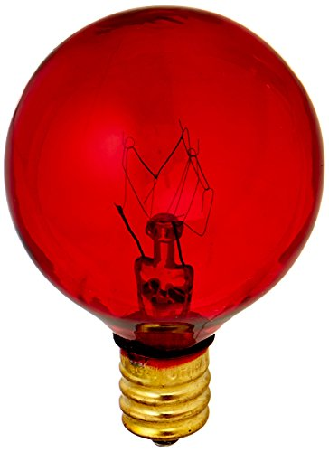 Bulbrite 10G12R 10 Watt Incandescent G12 Globe, Candelabra Base, Transparent Red