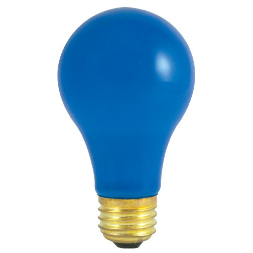 Bulbrite 60A/CB 60 Watt Incandescent A19 Party Bulb, Medium Base, Ceramic Blue