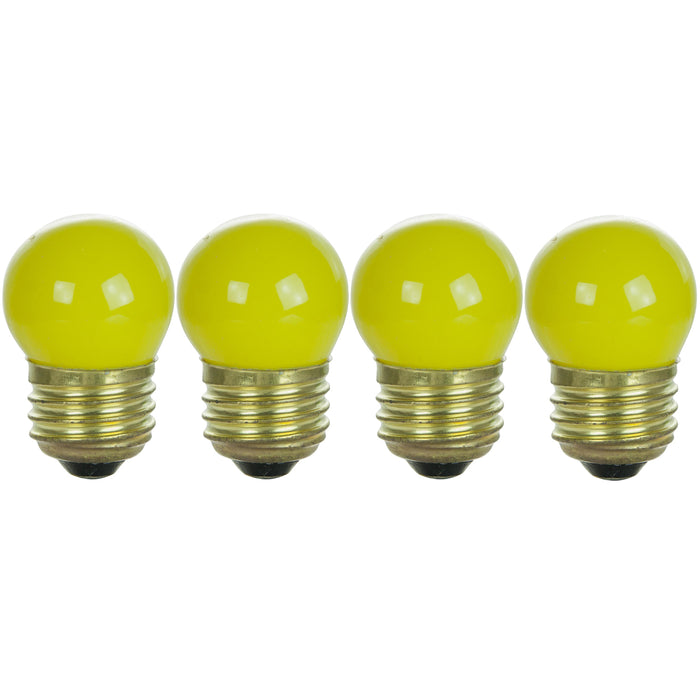 Sunlite 7.5 Watt S11 Colored Indicator, Medium Base, Ceramic Yellow