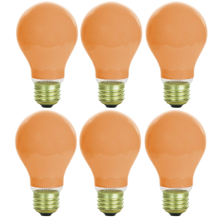 Sunlite 40 Watt A19 Colored, Medium Base, Ceramic Orange