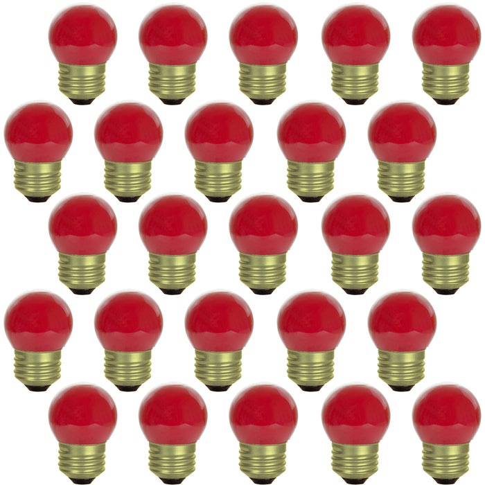 Sunlite 7.5 Watt S11 Colored Indicator, Medium Base, Ceramic Red