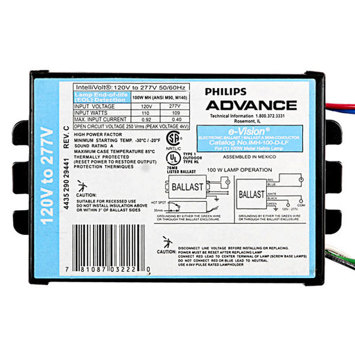 Advance IMH100DLFM - 100 Watt - Electronic Metal Halide Ballast ANSI M90/M140 - 120/277 Volt - Power Factor 90% - Max. Temp. Rating 185 Deg. F - Side Leads With Mounting Feet