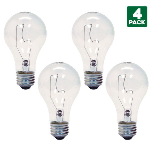 4-Pack Sylvania 75 Watt Clear Incandescent Light Bulbs, Medium (E26) Base, A19 Shape, Indoor, 120 Volt, 1200 Lumens, 750 Hours, Fully Dimmable, 100 CRI