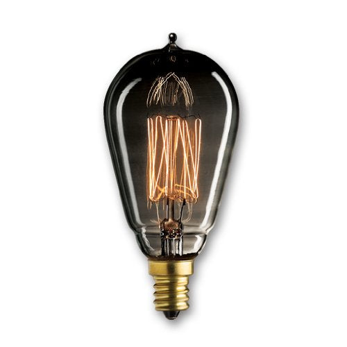 Bulbrite NOS25ST15/SQ/E12/SMK 25 Watt Nostalgic Edison ST15 bulb, Vintage Thread Filament, Candelabra Base, Smoke Finish