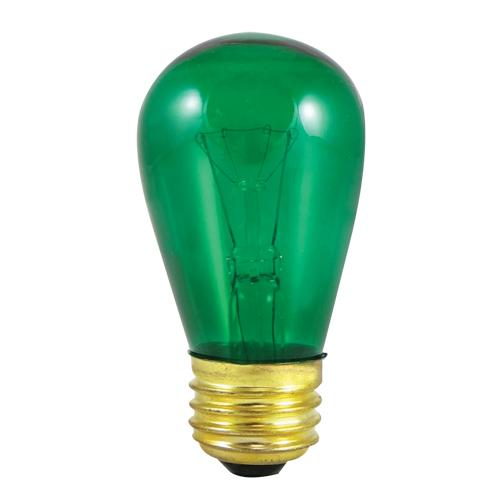 BULBRITE INCANDESCENT S14 MEDIUM SCREW (E26) 11W DIMMABLE LIGHT BULB TRANSPARENT GREEN 25PK (701411)