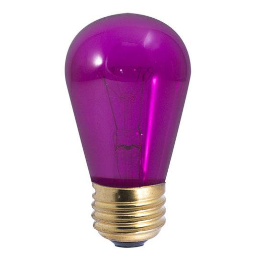 BULBRITE INCANDESCENT S14 MEDIUM SCREW (E26) 11W DIMMABLE LIGHT BULB TRANSPARENT PURPLE 25PK (701511)