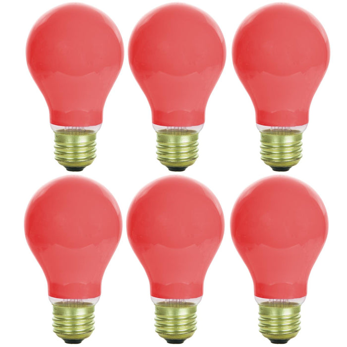 Sunlite 25 Watt A19 Colored , Medium Base, Ceramic Red