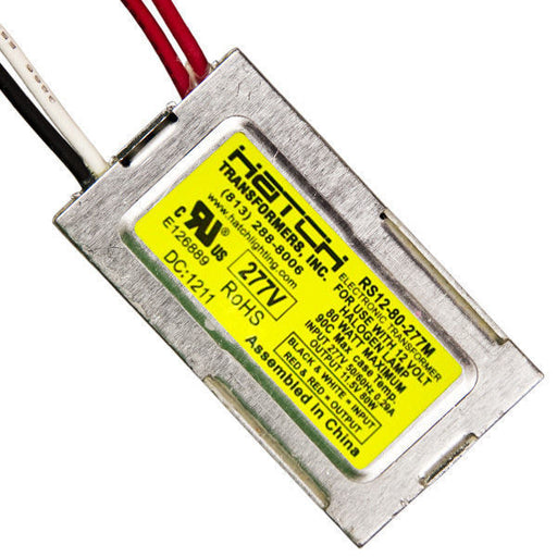 12V Electronic Low Voltage Transformer Min/Max Wattage 5-80W - Input Voltage 277V - For Use with Halogen Lamps - Side Leads - Hatch RS12-80-277M