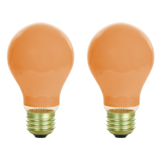 Sunlite 25A/O/2PK Incandescent 25-Watt, Medium Based, A19 Colored Bulb, Orange, 2-Pack